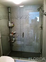 3 8 frameless brushed nickel clear glass to wall hinge shower inline with towel bar thru panel