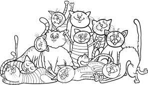 Cartone Animato Di Gruppo Gatti Felici Per Libro Da Colorare