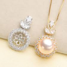 925 sterling silver wedding bridal pearl pendant necklace pendant setting findings jewelry parts fittings women accessories
