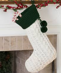 Crocheted Cable Christmas Stocking Elegant Aran stitches create this  classic crocheted Christmas stocking design. Its
