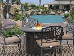 eli 42 round outdoor patio 5pc dining set for 4 person with round fire table series 7000 antique bronze finish