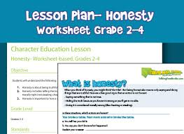 free printable character education lesson plan teaches social skills around honesty and trustworthiness worksheet based lesson plan for grades 2nd 3rd