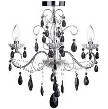 vara 3 light bathroom chandelier with black crystals chrome free delivery