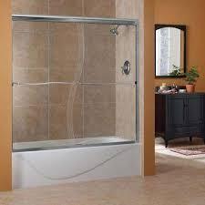 h frameless sliding tub door in brushed