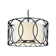 troy lighting drum pendant light with white shade in deep bronze finish f1285db