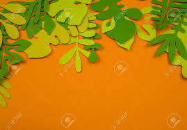 Designs Made From Leaves Green Leaves Made From Paper On Orange Background Autumn Leaf