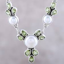 cultured pearl and peridot sterling silver pendant necklace full moon garden