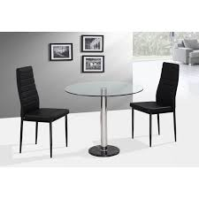 round glass top dining table with stainless steel leg added by double black leather dining chairs
