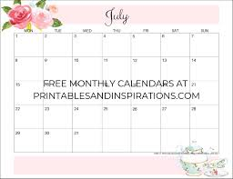 Free Printable Floral Calendar Planners For 2019 2020
