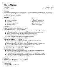Quality Technician Resume