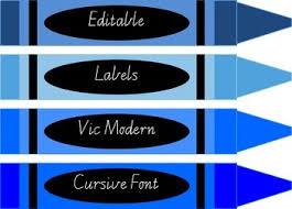 Editable Crayon Design Labels Plus Colour Chart With Crayons Vic Modern Cursive