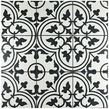 black and white tile pattern. Delighful Pattern Artea Stenciled White And Black Farmhouse Tile  Retro Style With Black And White Tile Pattern I