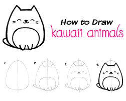 cute easy animal drawings step by step.  Easy How To Draw Kawaii Animals 4 Easy Stepbystep Tutorials On Cute Animal Drawings Step By Y