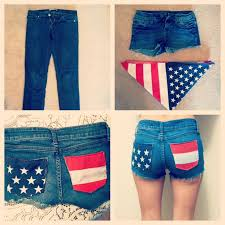 diy american flag shorts for summer cut a bandana up and sew to the pockets of