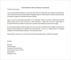 Letters For Scholarships Recommendation Letter For Scholarship From Employer Templates