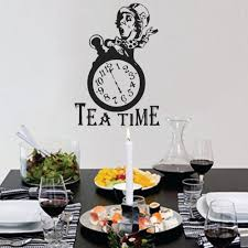 Alice In Wonderland Wall Decor Alice In Wonderland Wall Decal Kitchen Decor Tea Time Mad Hatter