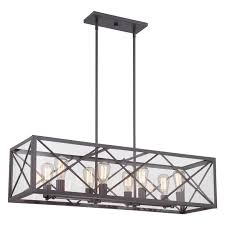 linear dining room lighting. Eight Side-by-side Lights And A Box Frame Design Make This Linear Chandelier Dramatic Choice For Your Dining Room Or Grand Kitchen. Lighting I