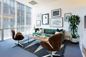 office pop. He Had Been In The Biz For 10 Years, And Though Worked With Designers Past, Office Was Looking A Little Tired, Midcentury Style Brown Pop