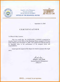 Examples Of Executive Resumes Certificate Of Employment Format