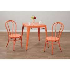 odessa solid orange metal dining chair set of 2