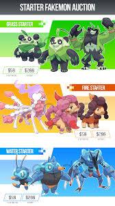 Starter Fakemon Sale by zerudez | Pokemon pokedex, Pokemon breeds, Pokémon  species