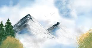 my first digital art experience painting mystic mountain like bob ross