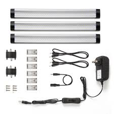 110v Led Under Cabinet Lights Le Under Cabinet Led Lighting 3 Panel Kit Total Of 12w 900lm 12v Warm White 24w Fluorescent Tube Equivalent All Accessories Included