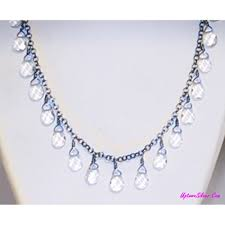 silpada zen necklace artisan faceted clear crystal teardrop briolette beads 925 sterling silver 18 inch new