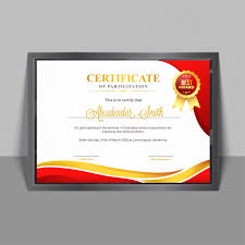 Certificate Of Participation Templates Certificate Of Participation Template With Yellow And Red