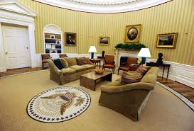 oval office fireplace. The Sofas Flanking Fireplace Are New, Covered With A Light-brown Cotton Fabric Oval Office