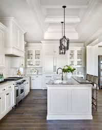 White Kitchens Dark Floors Elegant Kitchen With White Marble And Hardwood Floor Lisa Lee