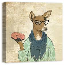cool doe with donut and sprinkles canvas wall art 20x20