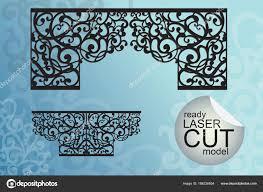 laser cut ormanental set window wall decoration stock vector