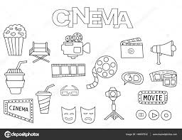 Hand Getrokken Cinema Set Kleurplaat Boek Sjabloon Overzicht