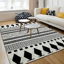 black bedroom rug. LIU Simple Modern Living Room Table Sofa Carpet Decorative Tatami Bed Bedroom Rug Black And White R