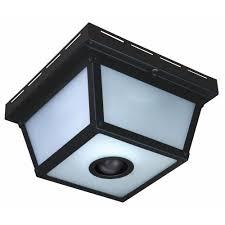 Hampton Bay 360 Square 4 Light Black Motion Sensing Outdoor Flush