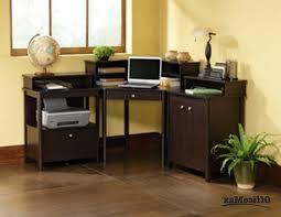 small corner computer desk contemporary varnished mahogany wood