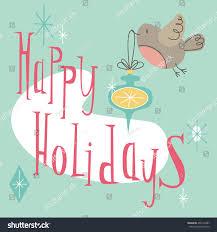 Retro Holidays Happy Holidays Retro Holiday Card Cute Stock Vector Royalty Free