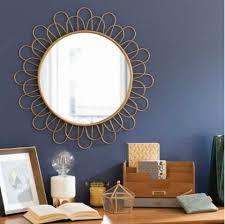 mirror wall decor circle panel: wall hanging large golden circle sunburst convex metal frame flower wall decor brass mirror modern contemporary