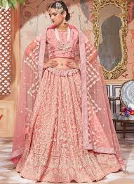 Light Pink Indian Wedding Dress Light Pink Net Lucknowi Embroidered Lehenga Party Wear