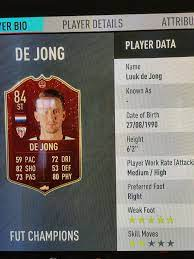 Luuk de Jong's fut champions card has 5* WF, while his base and market  inform both have 3* WF...: FIFA