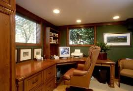 cool home office ideas mixed. Awesome Small Space Home Office Ideas With Luxury Brown Wood Computer Desk Complete Drawer And Comfortable Leather Sofa Chair Plus Enticing Green Cool Mixed O