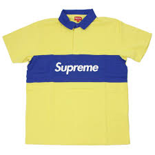 supreme shupurimu 16 ss s s rugby box logo embroidery lager short sleeve shirt yellow blue white sizel thrift almost brand new