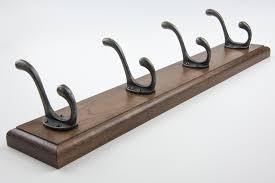 solid dark oak coat rack with heavy duty cast iron hooks 2 3 4 5 6 and 7 hooks