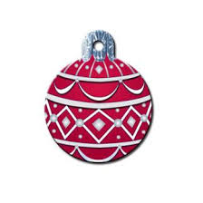 Christmas Ornament Dog ID Tag - Round