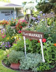 place a flower market sign top on upcycled table legs