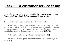 unit customer relations in business learning outcomes on  task 1 a customer service essay remember to use the provided checklist for this task