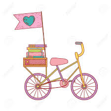 Books On Bicycle Design Pile Text Books In Bicycle Day Celebration Vector Illustration