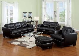black bonded leather sofa set