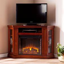 image of electric corner fireplace tv stand